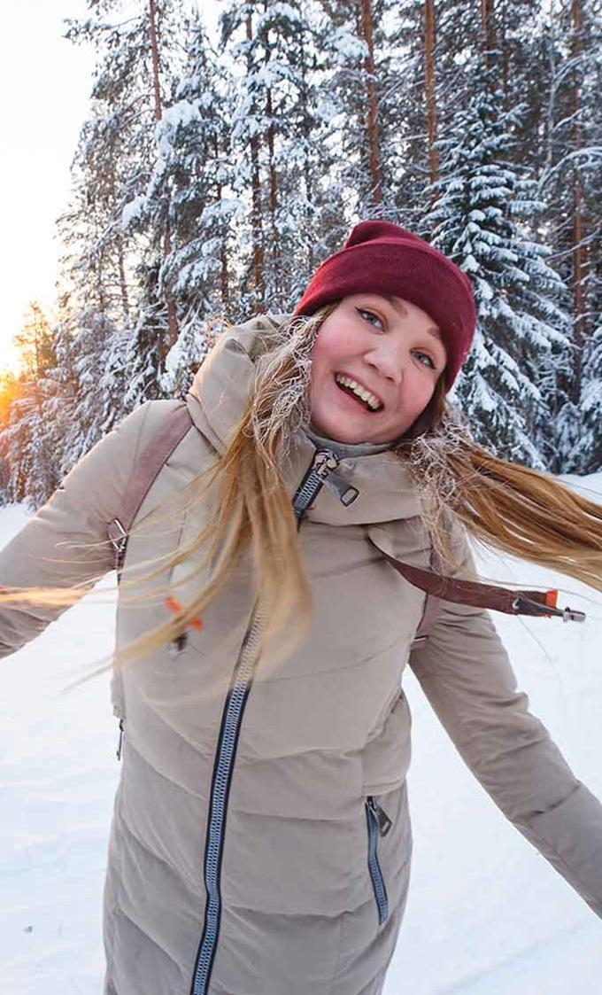 International student having fun in the Findish winter