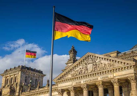 German flag outside the capital building.