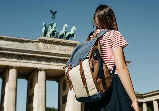 High school student exploring the capital city of Berlin