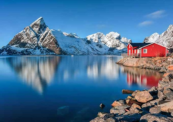 Mountain and lake region in Norway