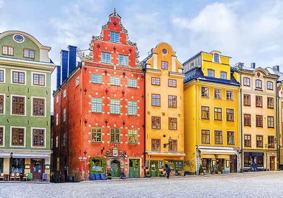 Colorful houses in Sweden