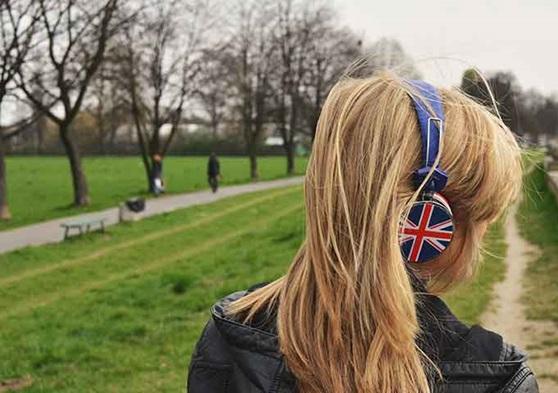 UK student with headphones