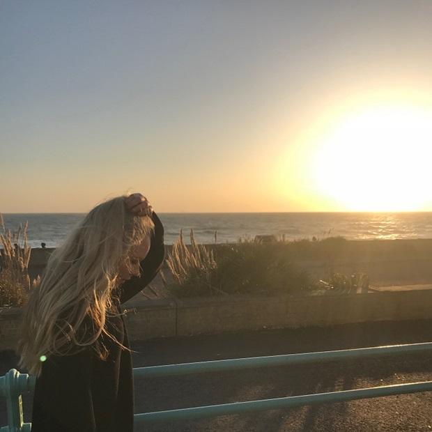 Vaihtari rannalla auringonlaskussa
