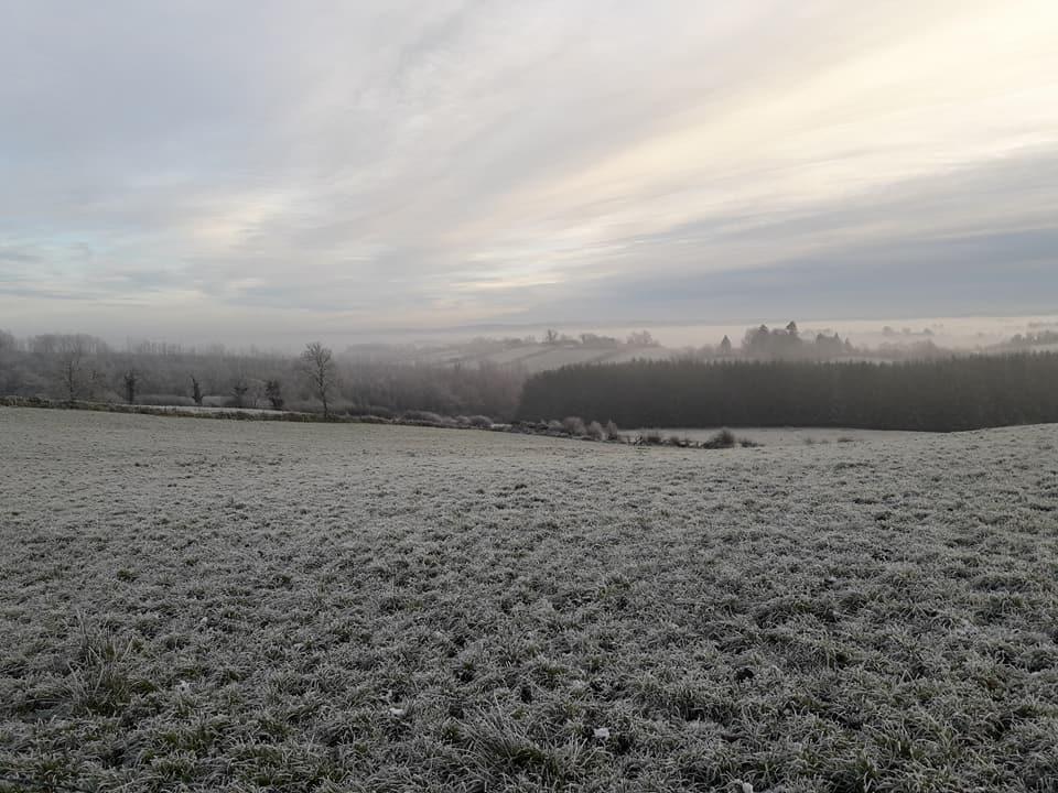 Lett snø over eng i Irland