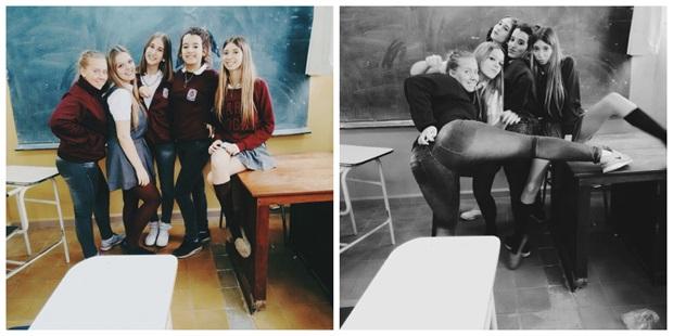 Kristin med skolevenner