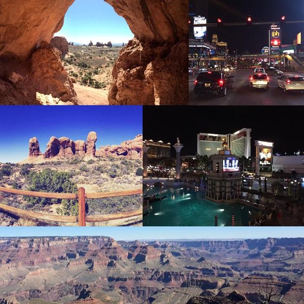 Collage fra route 66 - på vei fra Gran Canyon til Las Vegas.