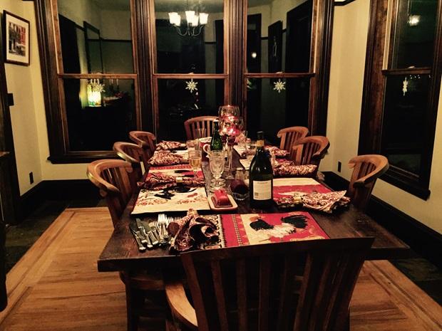 Juledekket bord hos vertsfamilien i USA