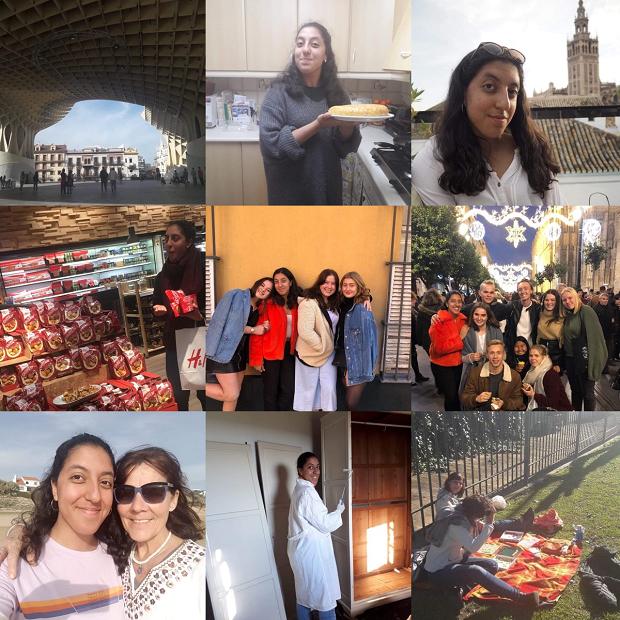 Kollage med bilder från utbytesår i Spanien