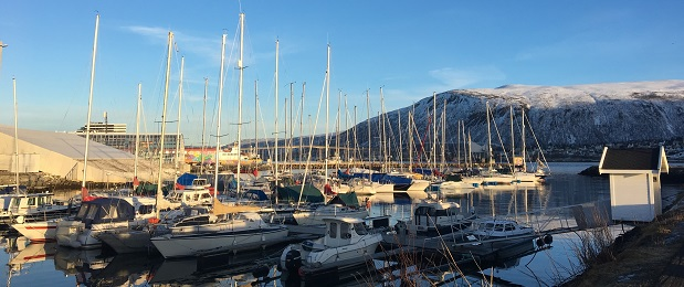 Boats in a harbor in Norway