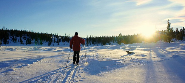 Skiing in Norway while the sun is rising