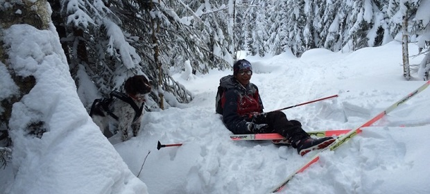 Student crashing in the snow while skiing
