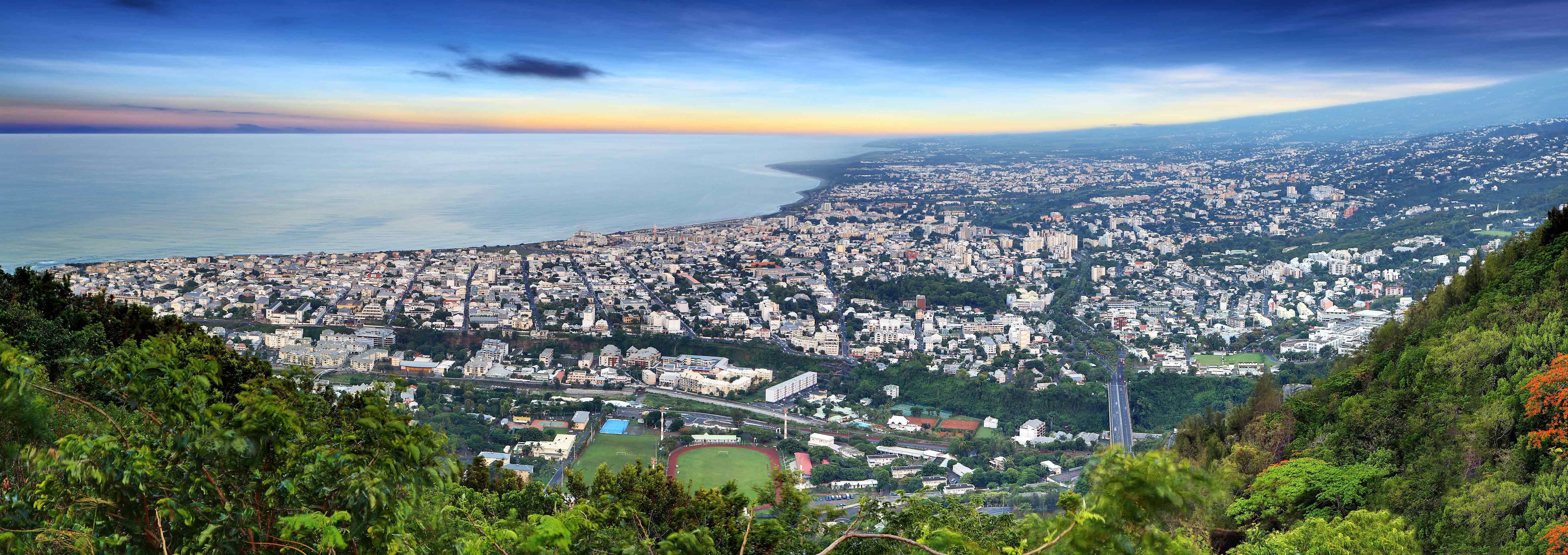 Panorama over a city in Reunion.