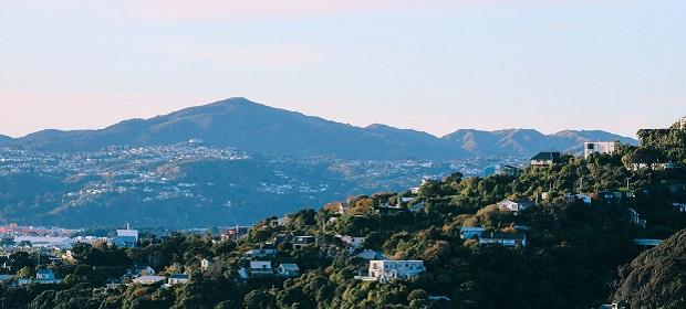 Villen auf Berg in Neuseeland