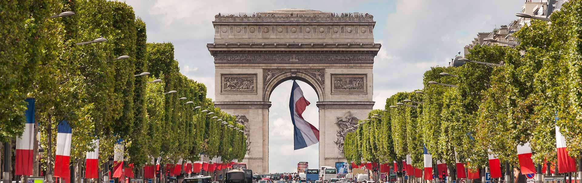 L'Arc de Triomphe in the City of Paris, Île-de-France, France