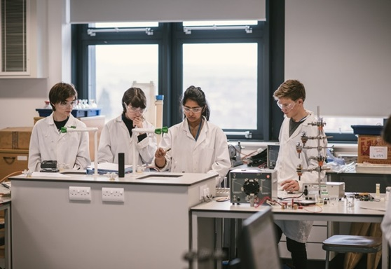 Exeter College science students in lab