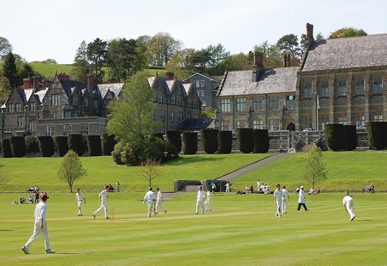 Students playing cricket at Mount Kelly