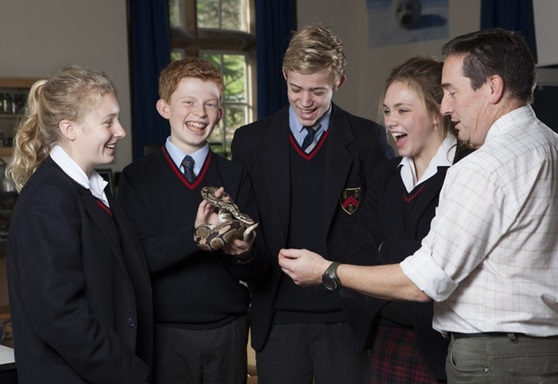 Students with Biology teacher at Mount Kelly