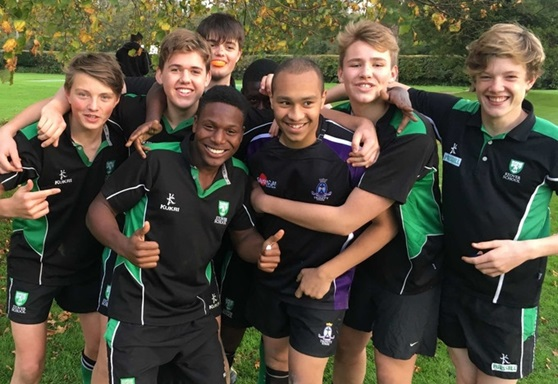 Student rugby players at Stover School