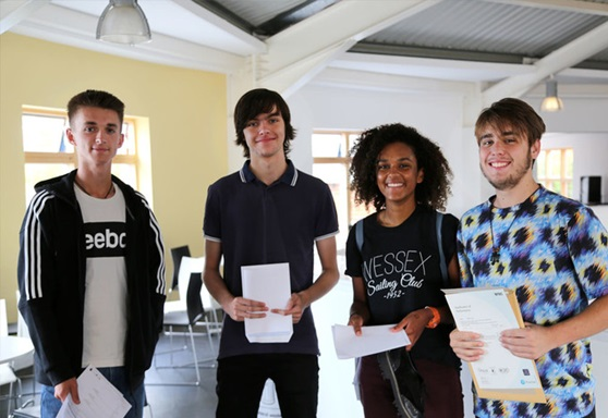 Students receiving A Level results at Bexhill College
