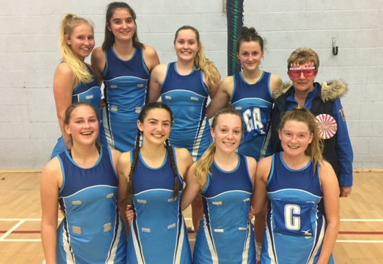 Students in netball team at Worthing College