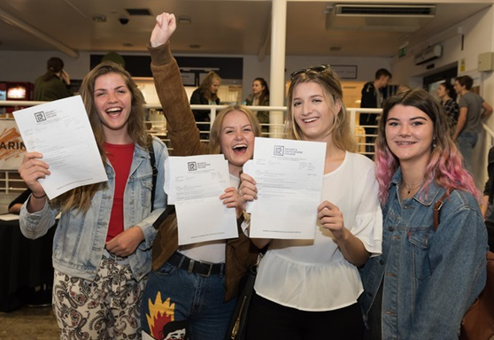 Students receiving A Level results at Havant South Downs College