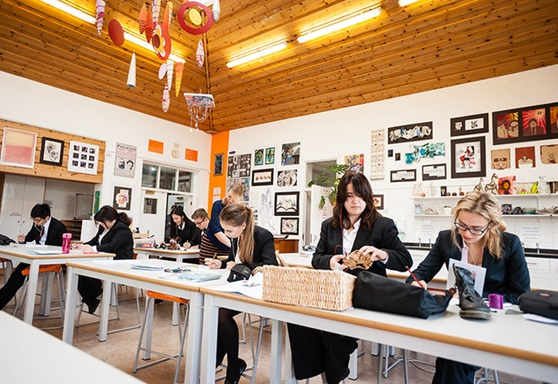 Students in art class at Rossall School