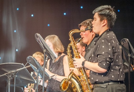 Student playing in jazz band at Wellington School
