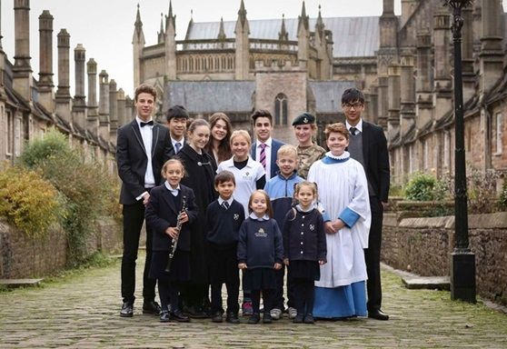 Mixed group of students at Wells Cathedral School