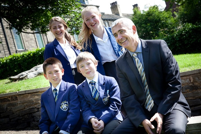 Students with headteacher at Fulneck School