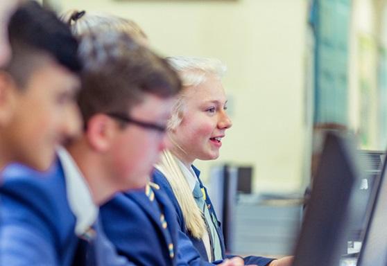 Fulneck School girl in IT class
