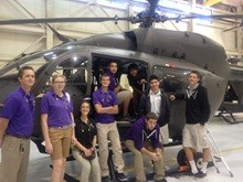 Mission Heights Prep Helicopter and Students