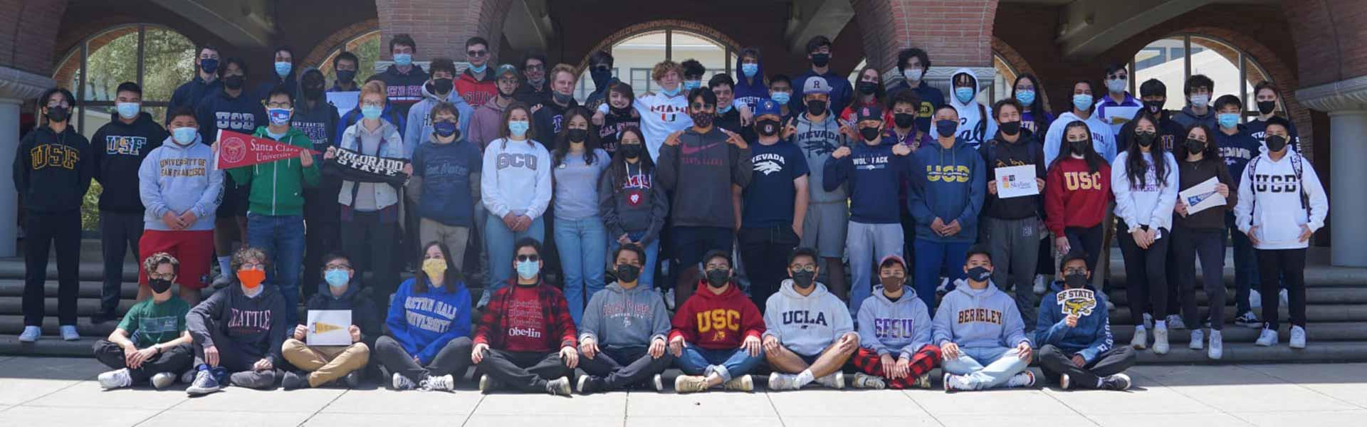 College acceptance sweatshirts Archbishop Riordan High School California
