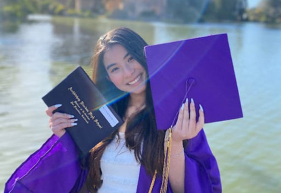Girl graduating from Archbishop Riordan High School California