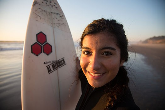 Monterey Bay Academy California USA Student and Surfboard