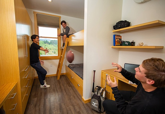 students playing inside dorms at Ojai Valley School in California