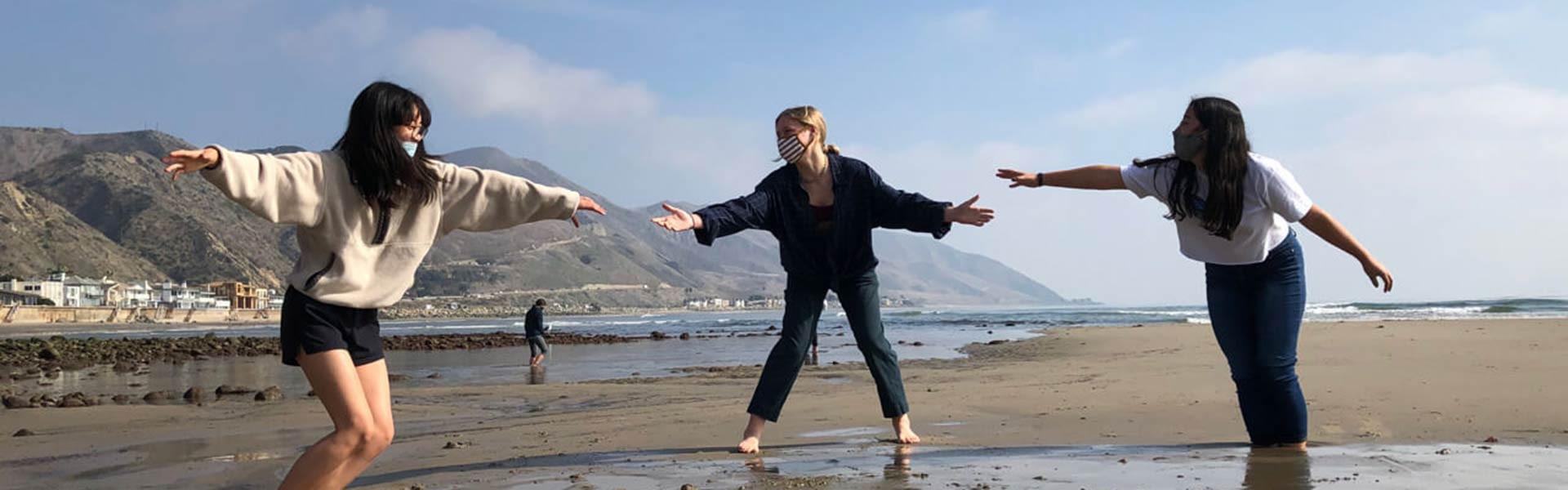 students having fun on campus at Ojai Valley School in California