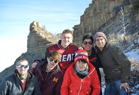 Group of students from Marianapolis Preparatory School Connecticut on a Mountain