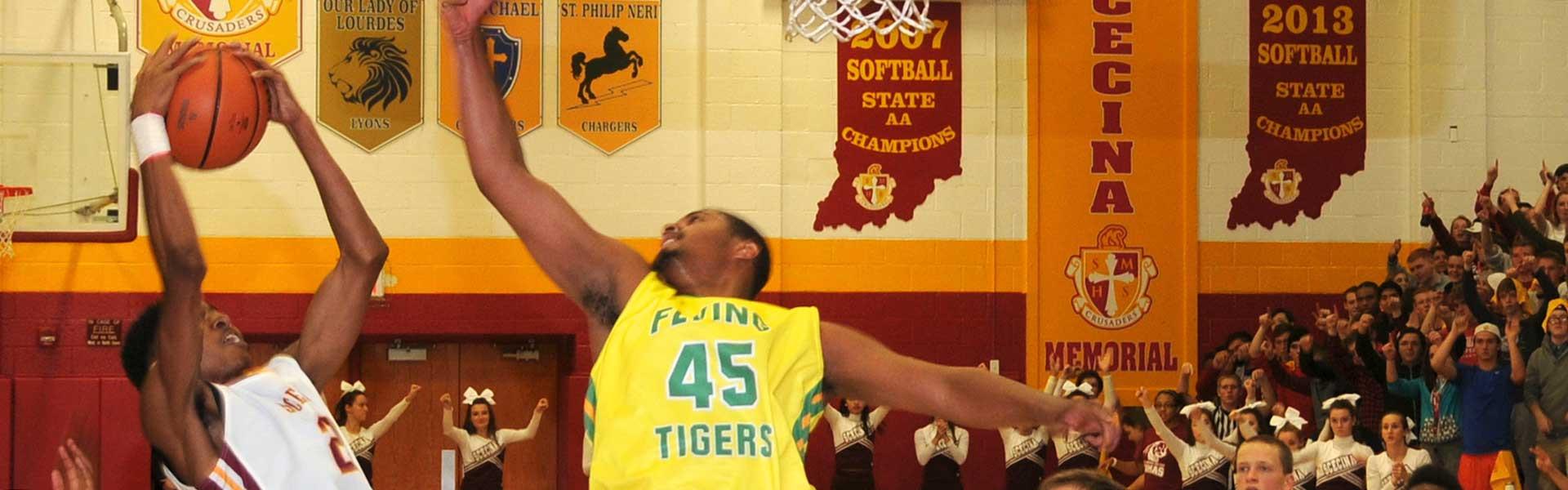 Scecina Memorial High School's students basketball match