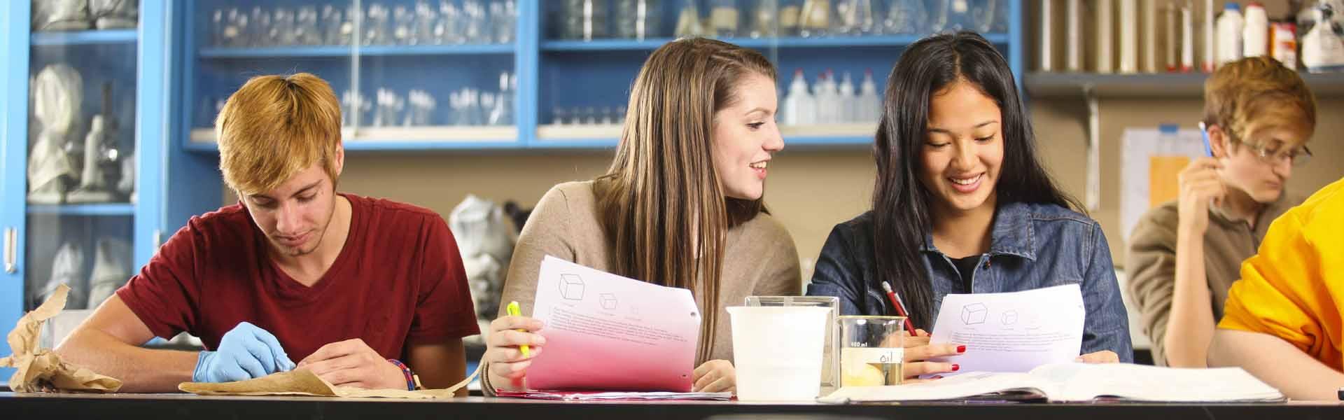 Girls in Class at Scottsburg High School in Indiana USA