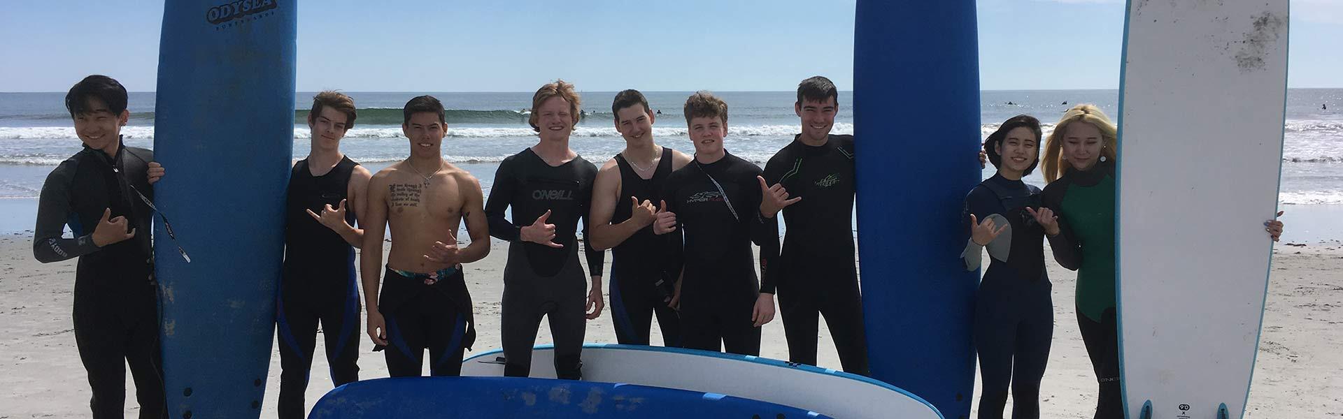 Students Surfing Hebron Academy Maine