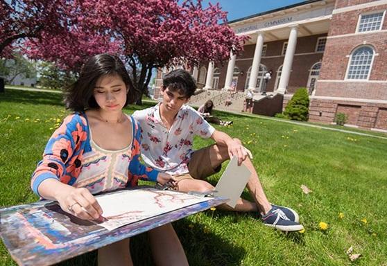 Students Doing Art Outside Hebron Academy Maine