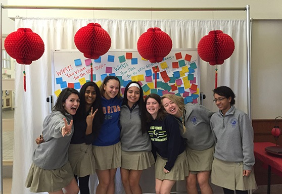 students at Our Lady Of Good Counsel High School in Maryland USA indoor on campus