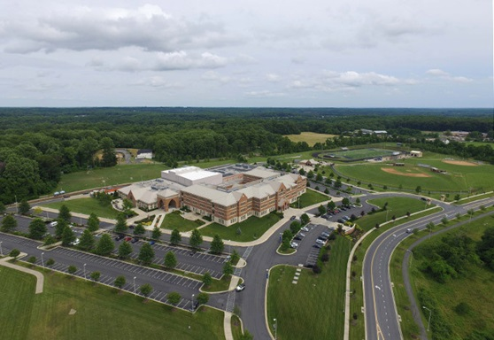 aerial view of campus at Our Lady Of Good Counsel High School in Maryland USA
