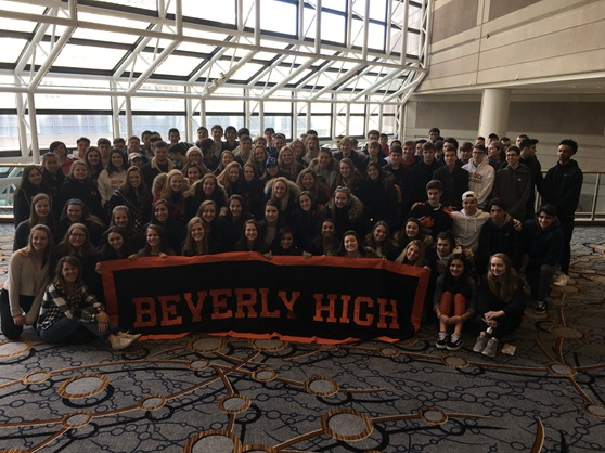 Beverly High School Massachusetts USA Students with banner