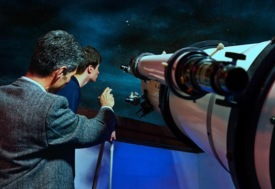 Student and Teacher Using a Telescope at The Storm King School New York