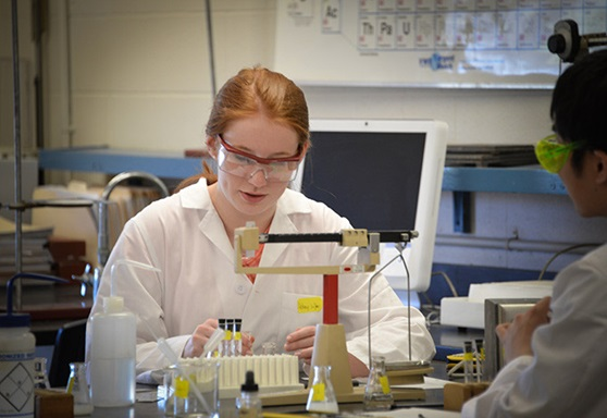 Lake Ridge Academy students in Chem Lab