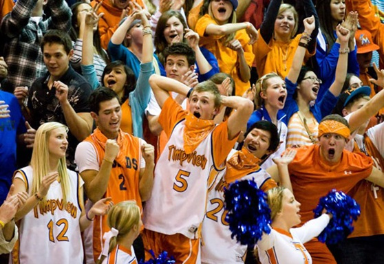A group of high school students in the stands cheering for a team