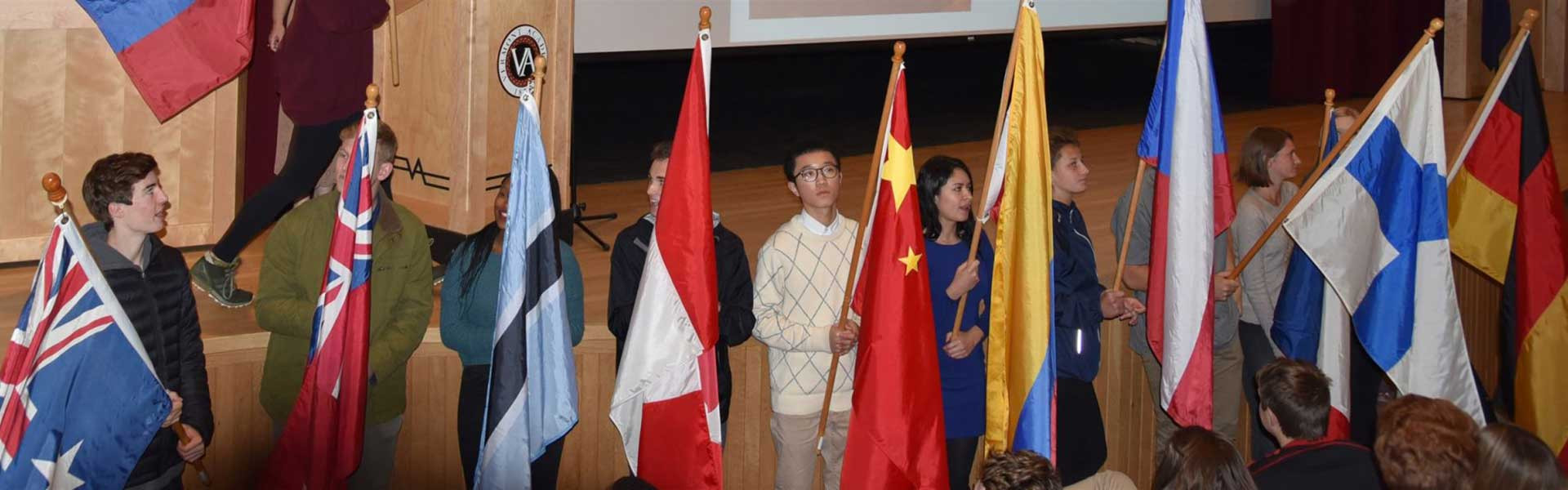 International Students with Flags at Vermont Academy
