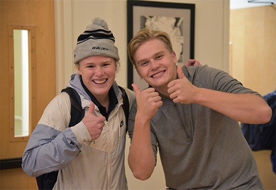 2 boys smiling with thumbs up Vermont Academy